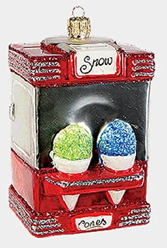 Snow Cone Machine Polish Mouth Blown Glass Christmas Ornament Snocone Decoration