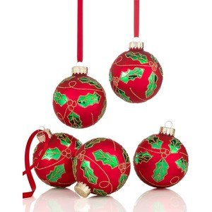 Holiday Lane Red Holly Ball Christmas Tree Ornaments (Set of 5)