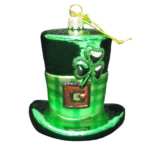 Noble Gems Glass Irish Hat Ornament, 4-Inch