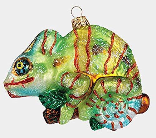 Chameleon on Branch Reptile Lizard Polish Glass Christmas Ornament Decoration
