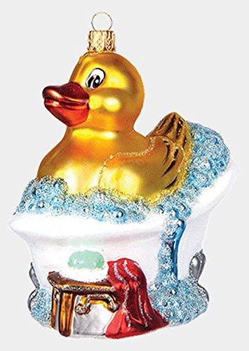 Rubber Duck Toy in Bubble Bath Polish Blown Glass Christmas Ornament Decoration