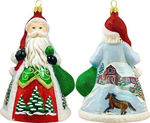 Glitterazzi Snowy Barn Scene Santa Ornament by Joy to the World