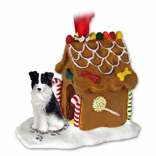 Border Collie Dogs Gingerbread House Christmas Ornament