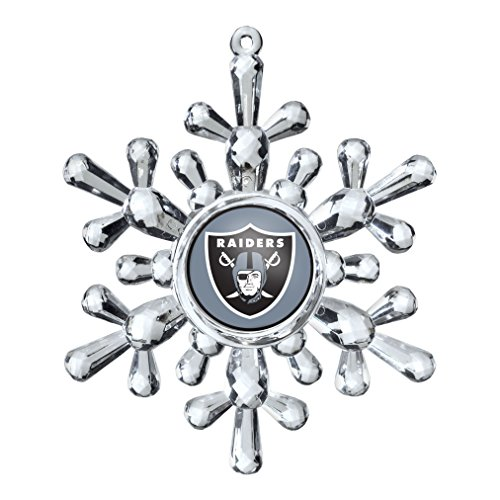 NFL Oakland Raiders Traditional Snowflake Ornament, 4.5″ in Diameter, Clear