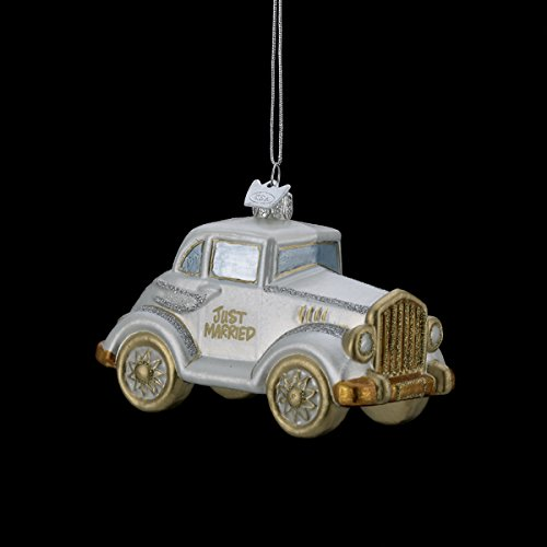 "4.5″ NOBLE GEMS GLASS GLITTERED ""JUST MARRIED"" WEDDING CAR ORNAMENT"