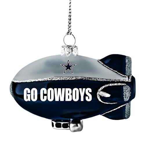 NFL Dallas Cowboys Glitter Blimp Ornament, Silver, 3″ x 2.25″