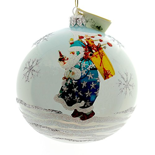 Christina's World TINKER TOY SANTA Glass Ornament Ball Snowflakes Gif473