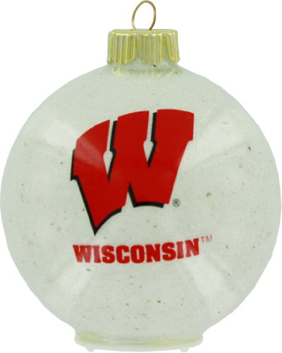 NCAA Wisconsin Badgers LED Color Changing Ball Ornament, 2.625″, White