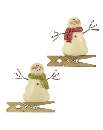 Blossom Bucket Snowmen with Red/Green Scarves Clips Ornaments Christmas Decor (Set of 2), 2″ High