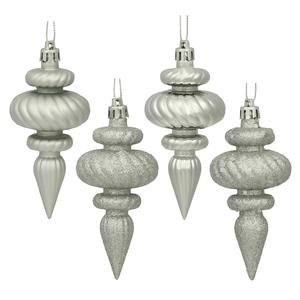 Vickerman 4 Finish Finial Ornaments, 4-Inch, Silver, 8-Pack