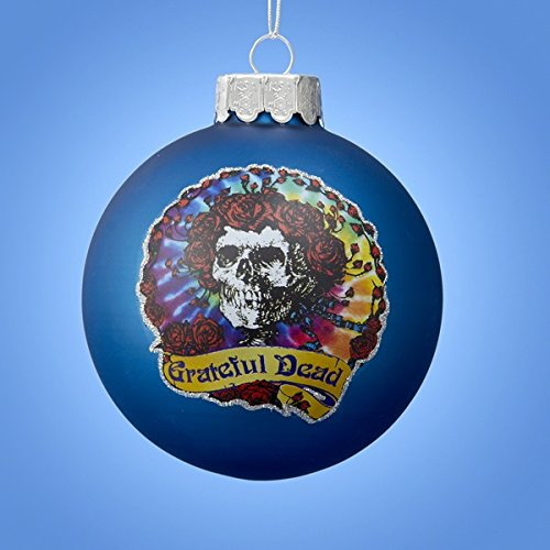Kurt Adler Glass Blue Grateful Dead Ball Ornament with Decal, 80mm