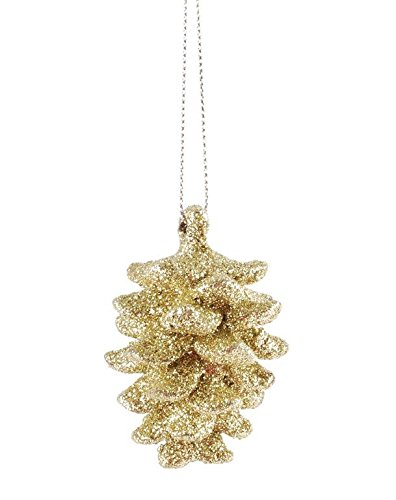 Blossom Bucket Gold Glittery Frosted Pinecone Ornament Christmas Decor, 1-1/2 L by 2-1/2″ H