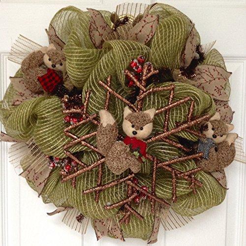 Twig Snowflake with Raz Fox Ornaments Handmade Winter Burlap Deco Mesh Wreath