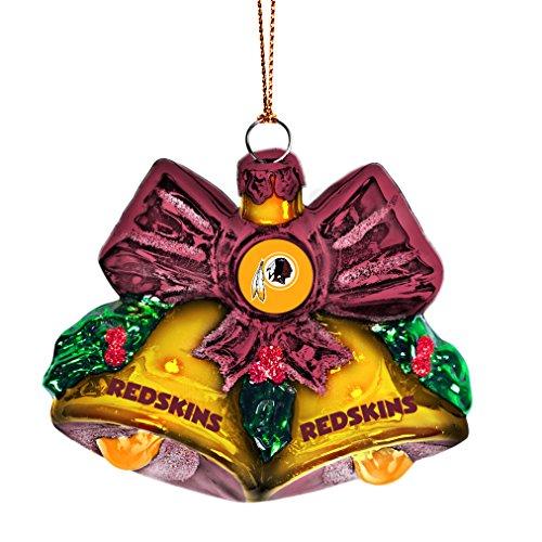 NFL Washington Redskins Glitter Bells Ornament, Green, 3″ x 3″