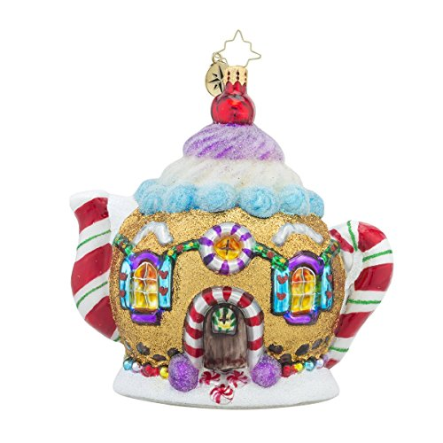 Christopher Radko Sweet Tea Teapot Candy & Gingerbread Themed Glass Christmas Ornament – 5″h.