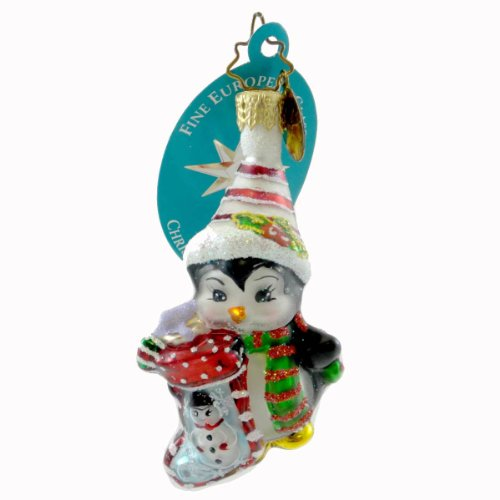 Christopher Radko PENNYS SNOW GLOW GEM Blown Glass Ornament Penguin Christmas