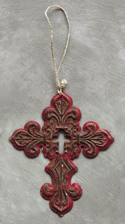 Rustic Southern Red Iron Filigree Holy Cross Hanging Christmas Tree Ornament
