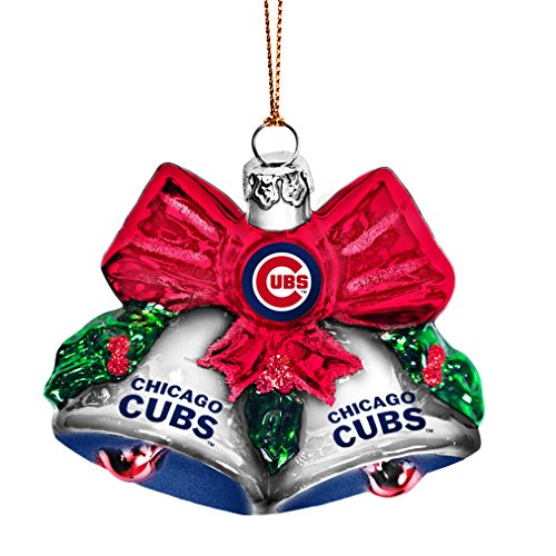 MLB Chicago Cubs Glitter Bells Ornament, Green, 3″ x 3″