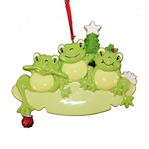 Frog Pad Family 3 Personalized Christmas Tree Ornament