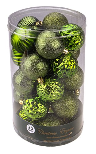 Christmas Green Decorative Shatterproof Orbs and Ornaments – Assorted 25 Pack Up to 60mm