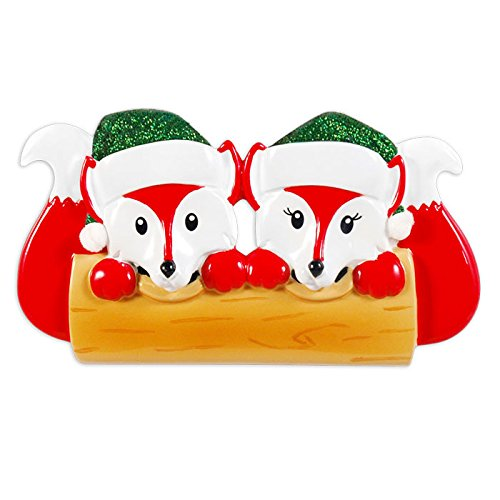 Fox Family Of 2 Personalized Christmas Tree Ornament