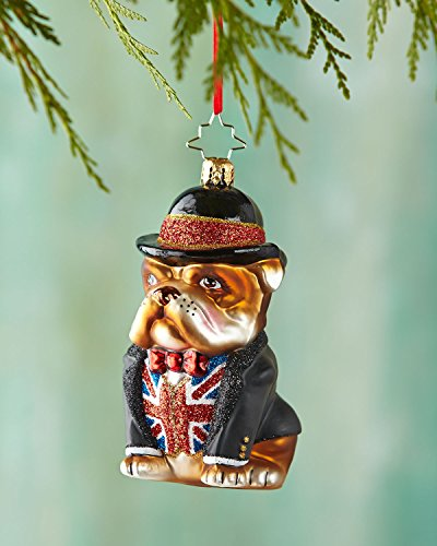 Christopher Radko Winston British Bulldog Glass Christmas Ornament – New for 2014 – 4″h.