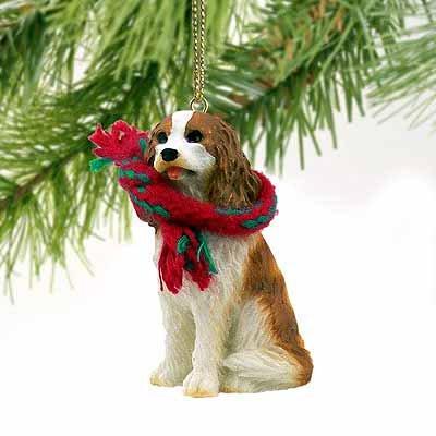 1 X Cavalier King Charles Spaniel Miniature Dog Ornament – Brown & W