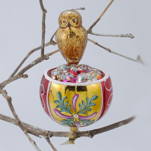 David Strand Designs Glass Owl in Birds Nest Clip On Christmas Ornament 6″