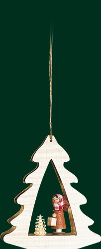 Hanging Christmas Tree Shaped Ornament Lantern Girl, 3.4 Inches