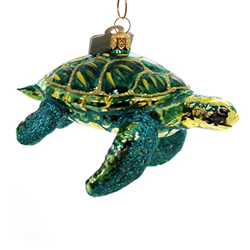 Christina's World GREEN TURTLE Glass Ornament Sea Ocean Reptile Zoo909