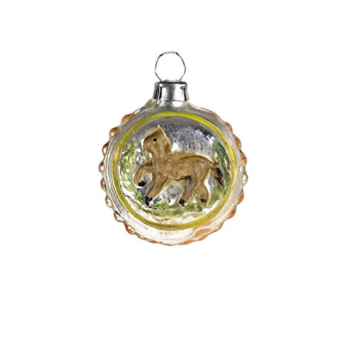 "Vintage mouthblown Christmas Miniature glass ornament ""Horse"" and orange knobs by MAROLIN® Germany"