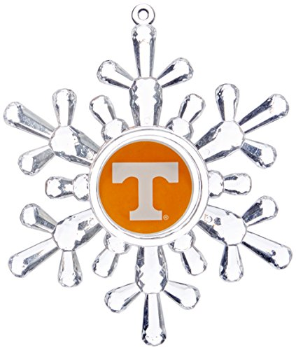 NCAA Tennessee Volunteers Traditional Snowflake Ornament, 4.5″, Clear