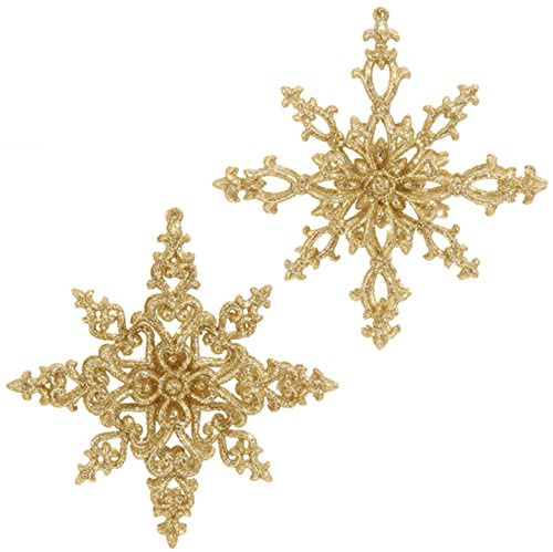 RAZ Imports – Formal Affair – 5″ Gold Glittered Snowflake Christmas Ornaments – Set of 2