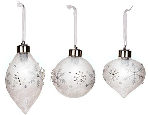 3 Mark Roberts Beaded LED Lighted Snowflake Ornaments