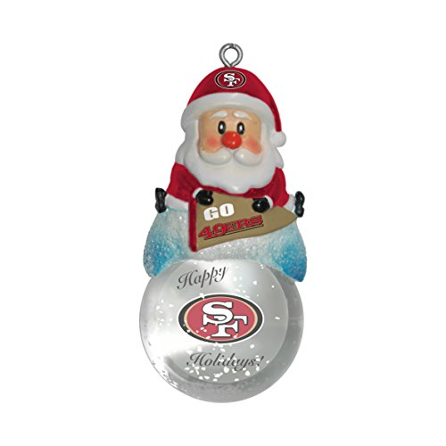 NFL San Francisco 49ers Snow Globe Ornament, Silver, 1.5″