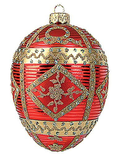 Faberge Inspired Red Commemorative Egg Polish Glass Christmas or Easter Ornament