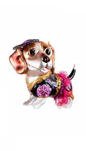 5″ Whimsical Glass Beagle Pink Tutu Dog Christmas Ornament (Beagle)
