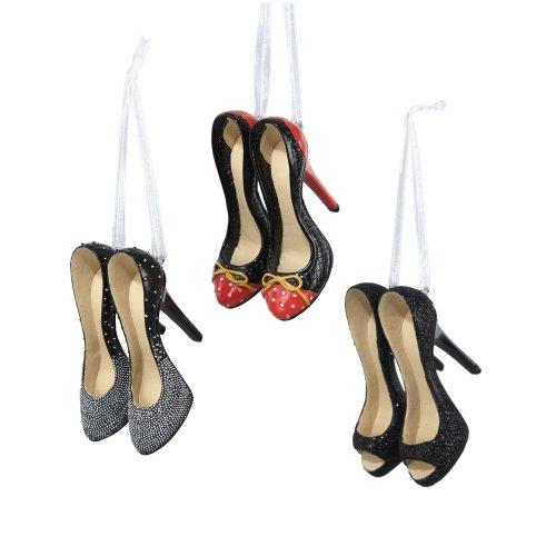 Kurt Adler 2.25″ Resin High Heel Shoe Ornament Set of 3