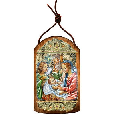 G. Debrekht Nativity with Angel Icon Wooden Ornament