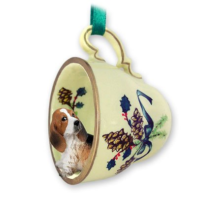 Basset Hound Tea Cup Green Holiday Ornament