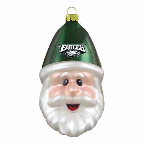 Philadelphia Eagles Blown Glass Santa Cap Christmas Tree Ornament