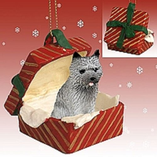 Conversation Concepts Cairn Terrier Gray Gift Box Red Ornament