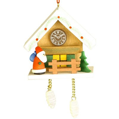 "10-0469 – Christian Ulbricht Ornament – Santa with Brown Cuckoo – 2.5″""H x 2.75″""W x 1.75″""D"