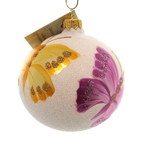 Christina's World VENETIAN DEW BUTTERFLY Glass Ornament Ball Glittered But6398
