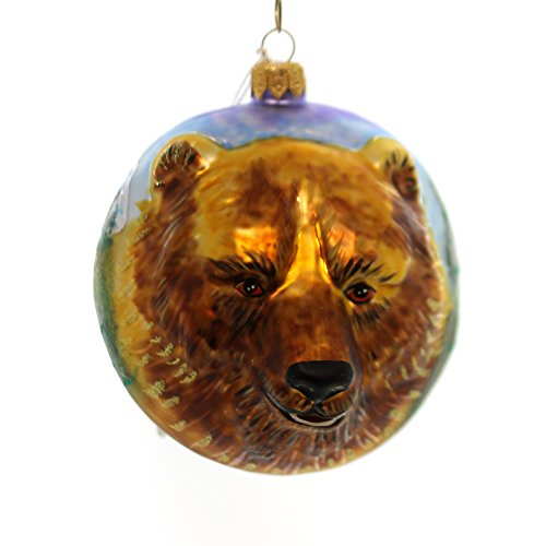 Christina's World GRIZZLY BEAR FIGURAL Forest Mountains Lake Ornament Zoo853