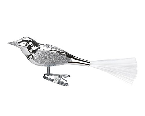 Bird, silver shiny, #10000T001, from the 2015 Elegant Season Collection by Inge-Glas Manufaktur; Gift Box Included