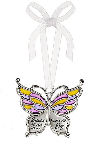 Ganz Butterfly Wishes Colored Ornament – Sisters fill each other's hearts with Joy