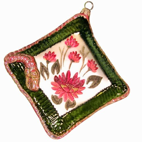 Ornaments to Remember: FLOWER Christmas Ornament (Green Pillow)