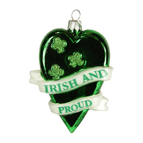 3.5″ Luck of the Irish Noble Gems Proud Heart with Shamrocks Christmas Ornament