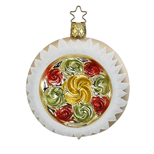 Reflector Ball 8 cm,Golden Floral Reflect, #20193T108, from the 2015 Vintage Christmas Collection by Inge-Glas Manufaktur; Gift Box Included